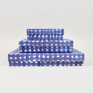 Blue Storage Boxes covered in Gabriela Trzebinski for Black Bough Paper