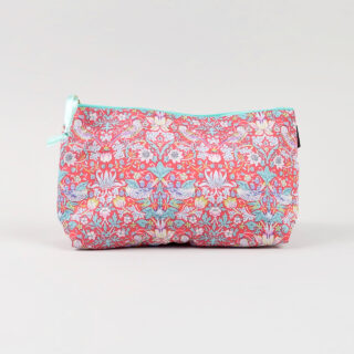 Liberty Print Fabric Cosmetic Bag - Strawberry Thief Red