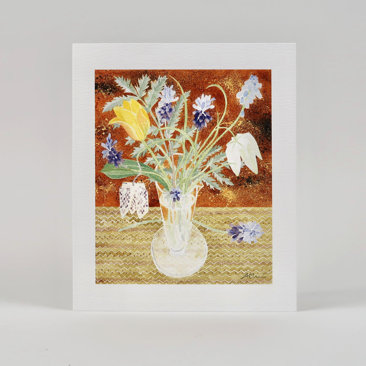Spring Flowers Greetings Card by Angie Lewin