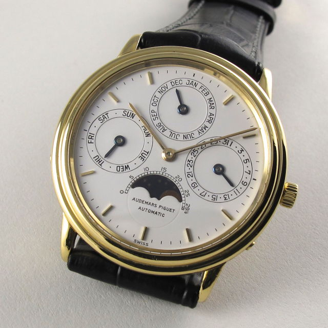 Gold Audemars Piguet Quantième Pérpétuel Automatique Ref. BA 5548 No. 274 vintage wristwatch, made in 1980