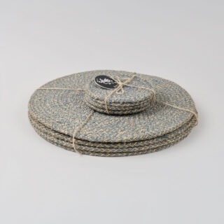 Set of 4 Woven Jute Coasters - Gull Grey