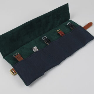 Canvas, suede and bridle leather watch wrap