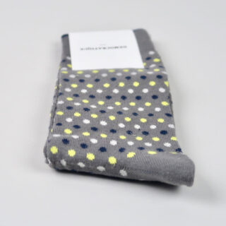 Men's Socks - Original Polka Dot - Warm Grey/Soft Grey/Bright Yellow/Navy