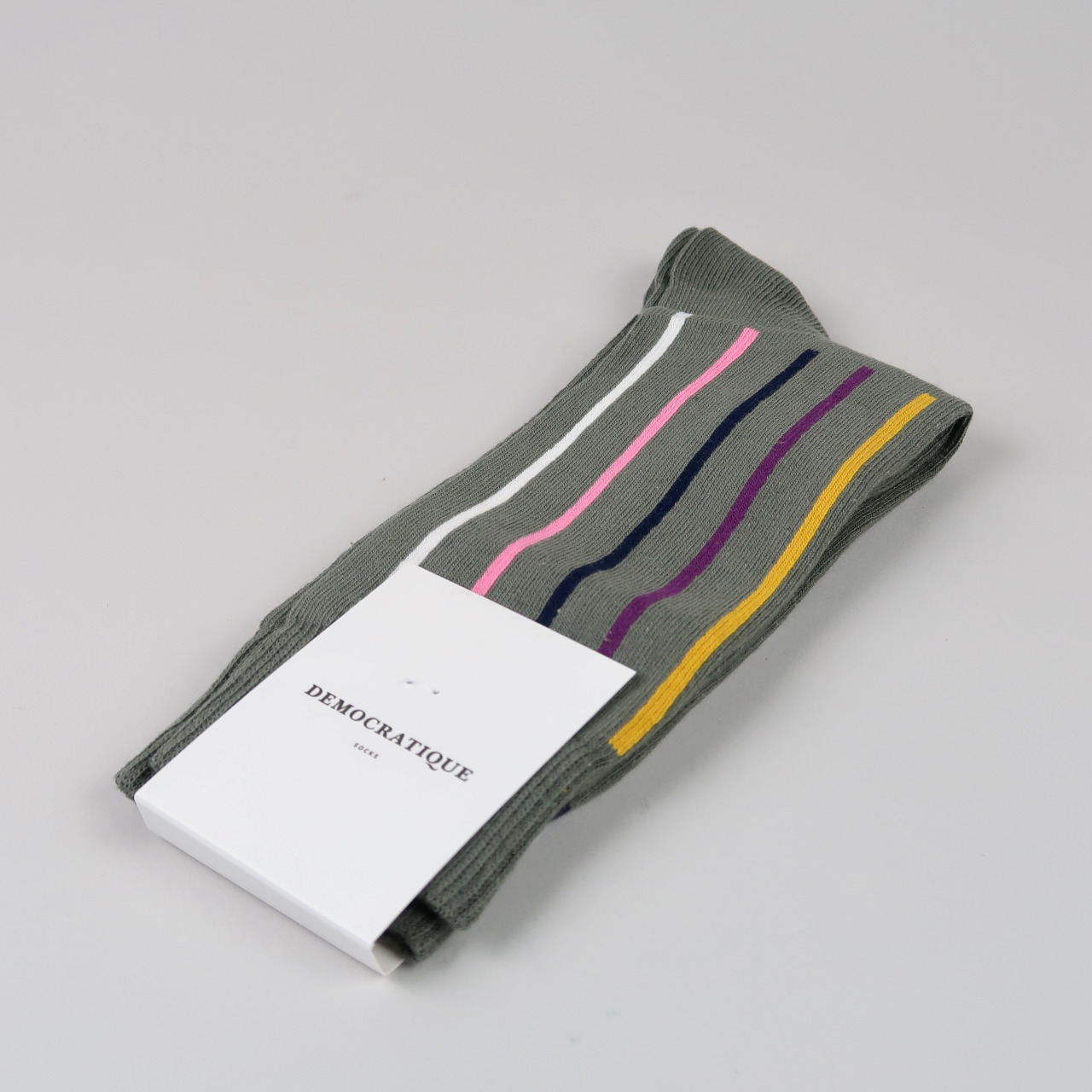 Men's Socks - Lateral Stripe - Army/Hot Curry/Violet/Navy/Pink Fleur/Off White