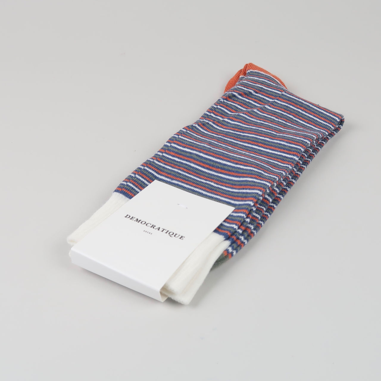 Men's Socks - Ultralight Stripes - Dark Ocean Blue/Dusty Orange/Army/Off White