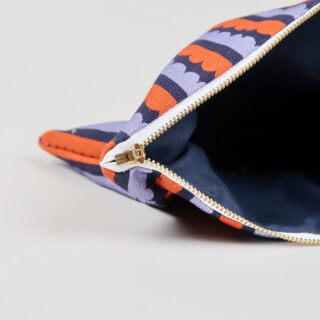 Scallop Design Cotton Pouch - Navy