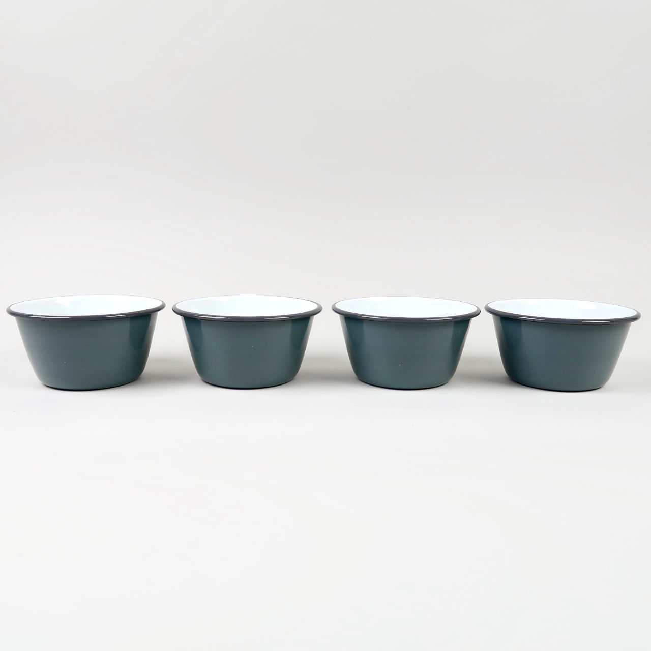 Box of 4 Small Enamel Bowls - Grey