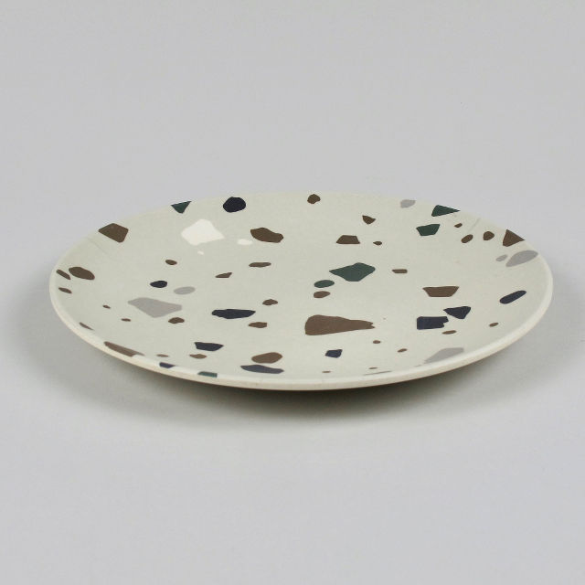 Grey Terrazzo Plate - Made from Bamboo