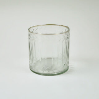 Hurricane Glass with Etched Laurel Leaf Design - Small
