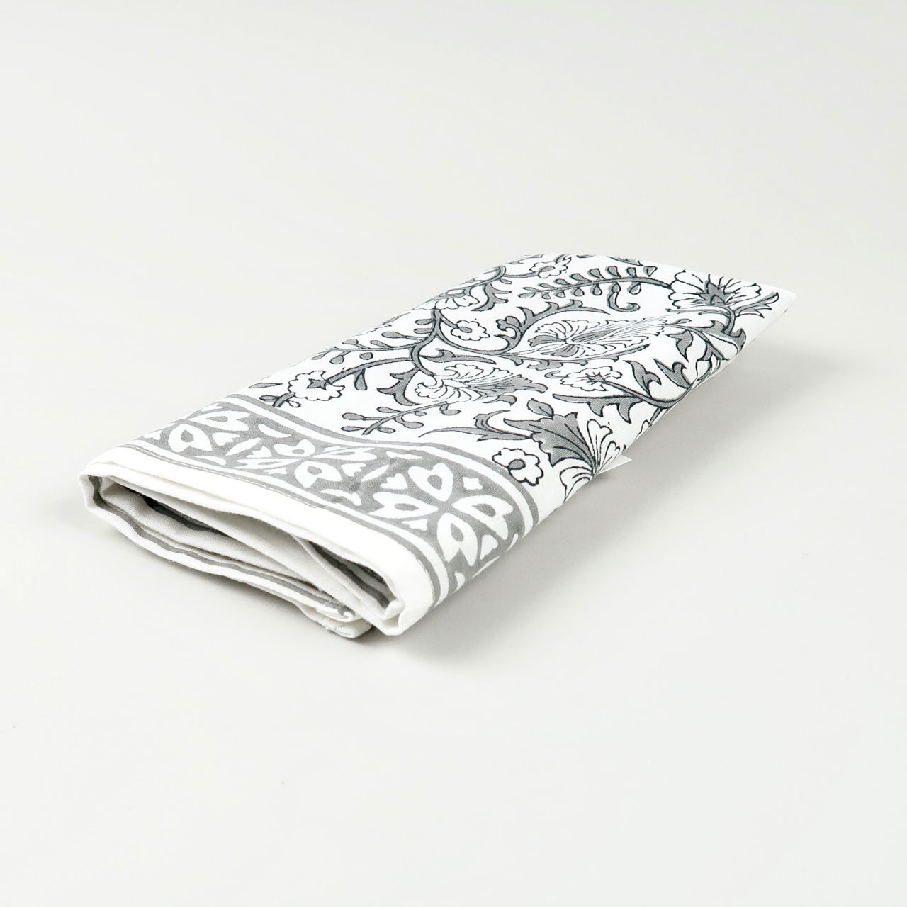 Block Printed Cotton Napkin - Kandia Grey