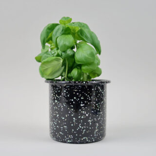 Enamel Herb Pot - Sprinkle Black
