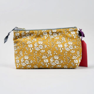 Liberty Print Fabric Cosmetic Bag - Capel Mustard