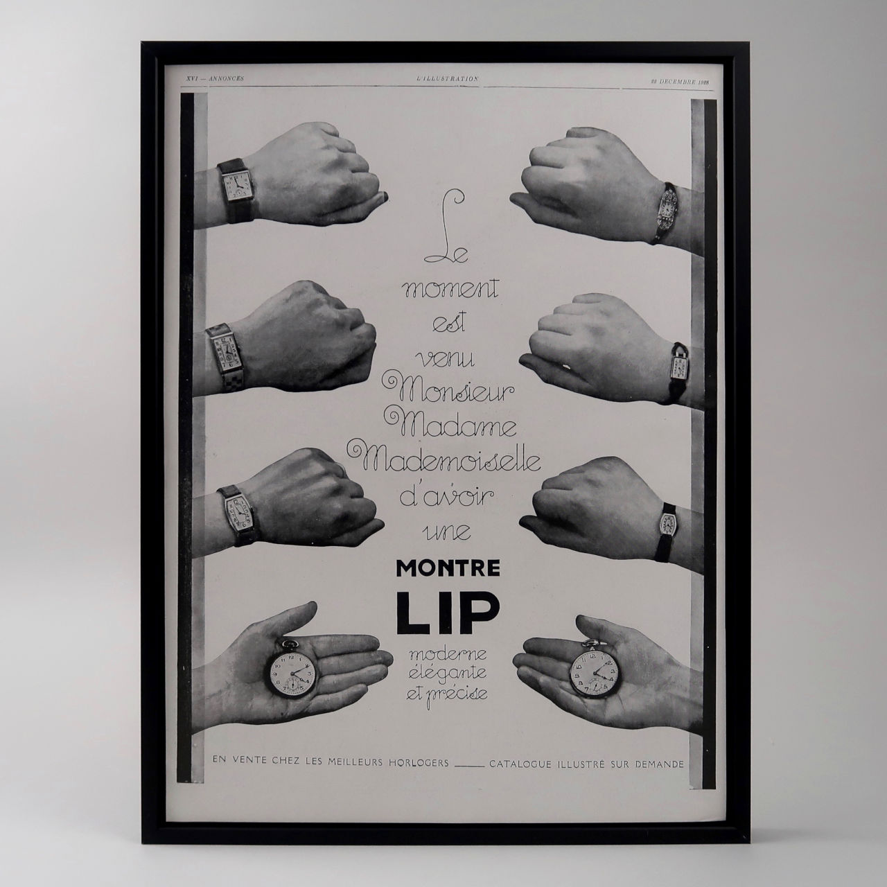 Lip framed vintage advertisement, 1934