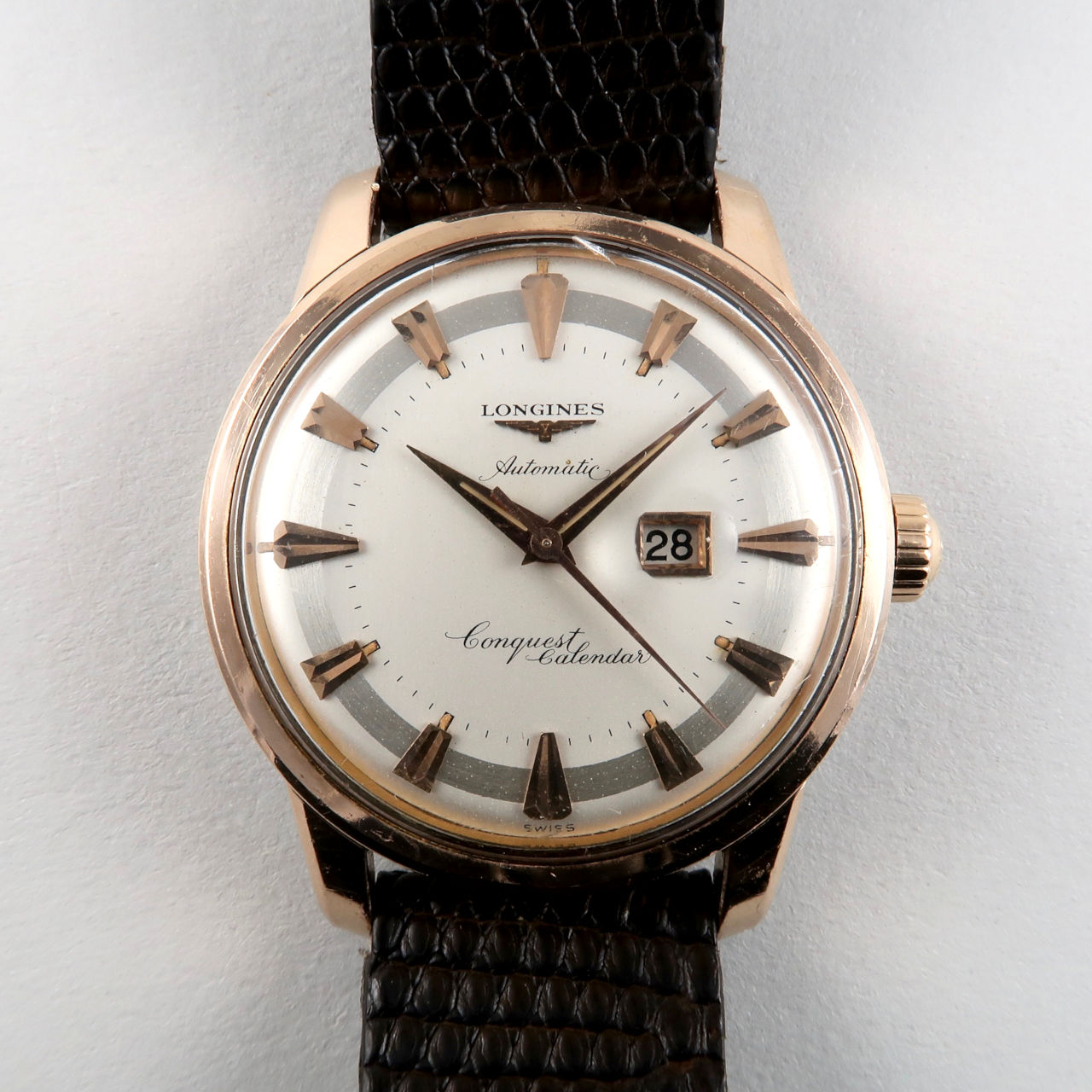 Longines Conquest Calendar Ref. 9007 -6 pink gold capped vintage wristwatch, circa 1957