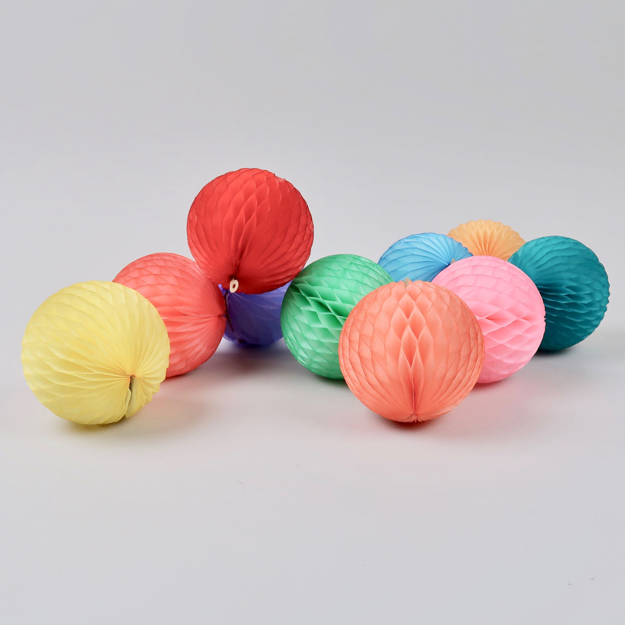 Honeycomb Paper Balls - 8cm Diameter - Pastel Rainbow Pack of 10