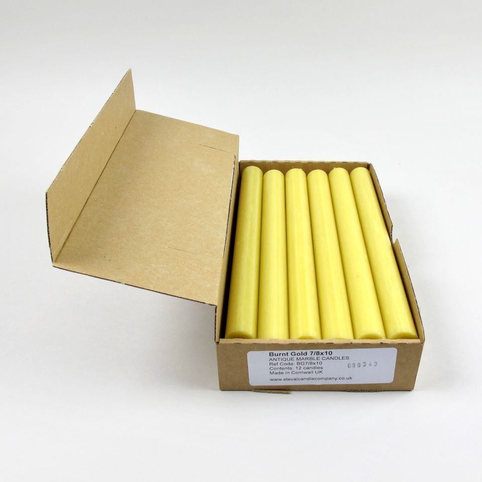 Box of 12 Candles - Burnt Gold
