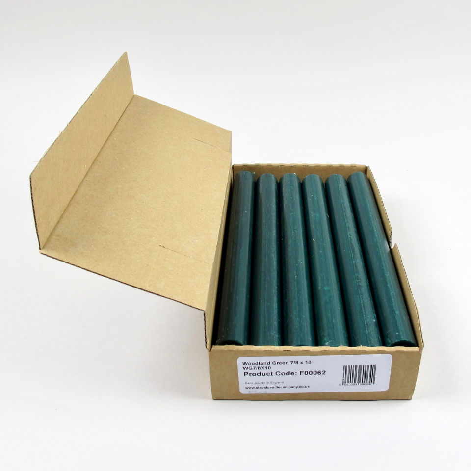 Box of 12 Candles - Woodland Green