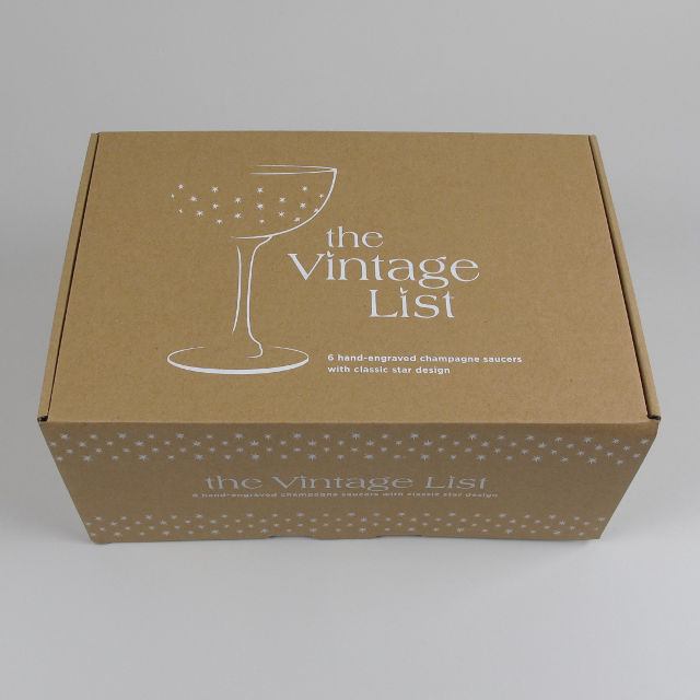 Box of 6 Etched Star Design Champagne Coupes
